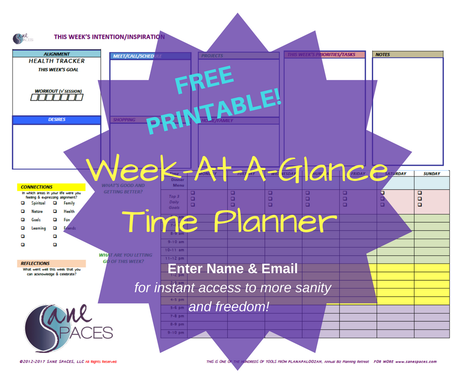 Free Week At A Glance Time Planning Printable: SaneSpaces.com