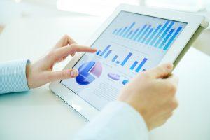 digital statistics on laptop